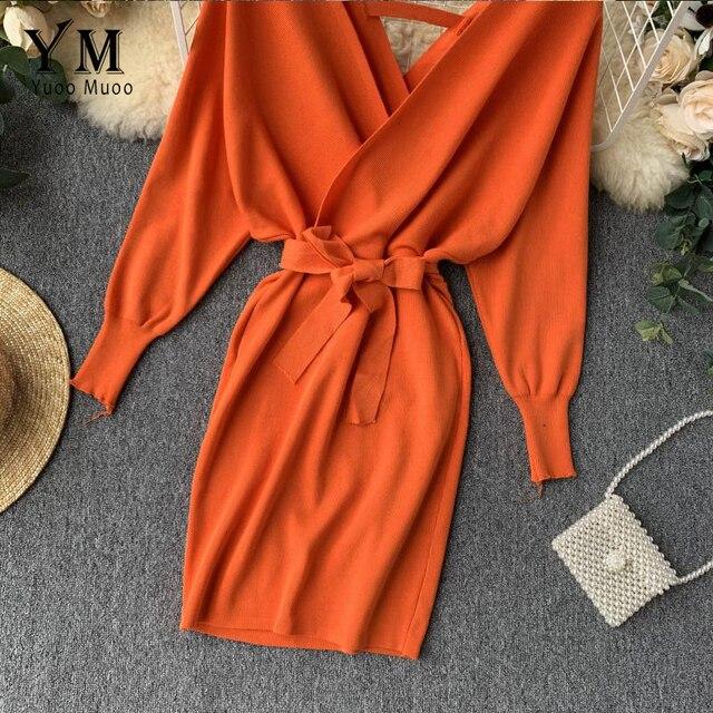 YuooMuoo Autumn Winter Women Knitted Sweater Dress 2019 New Korean Long Batwing Sleeve V Neck Elegant Dress Ladies Bandage Dress 4