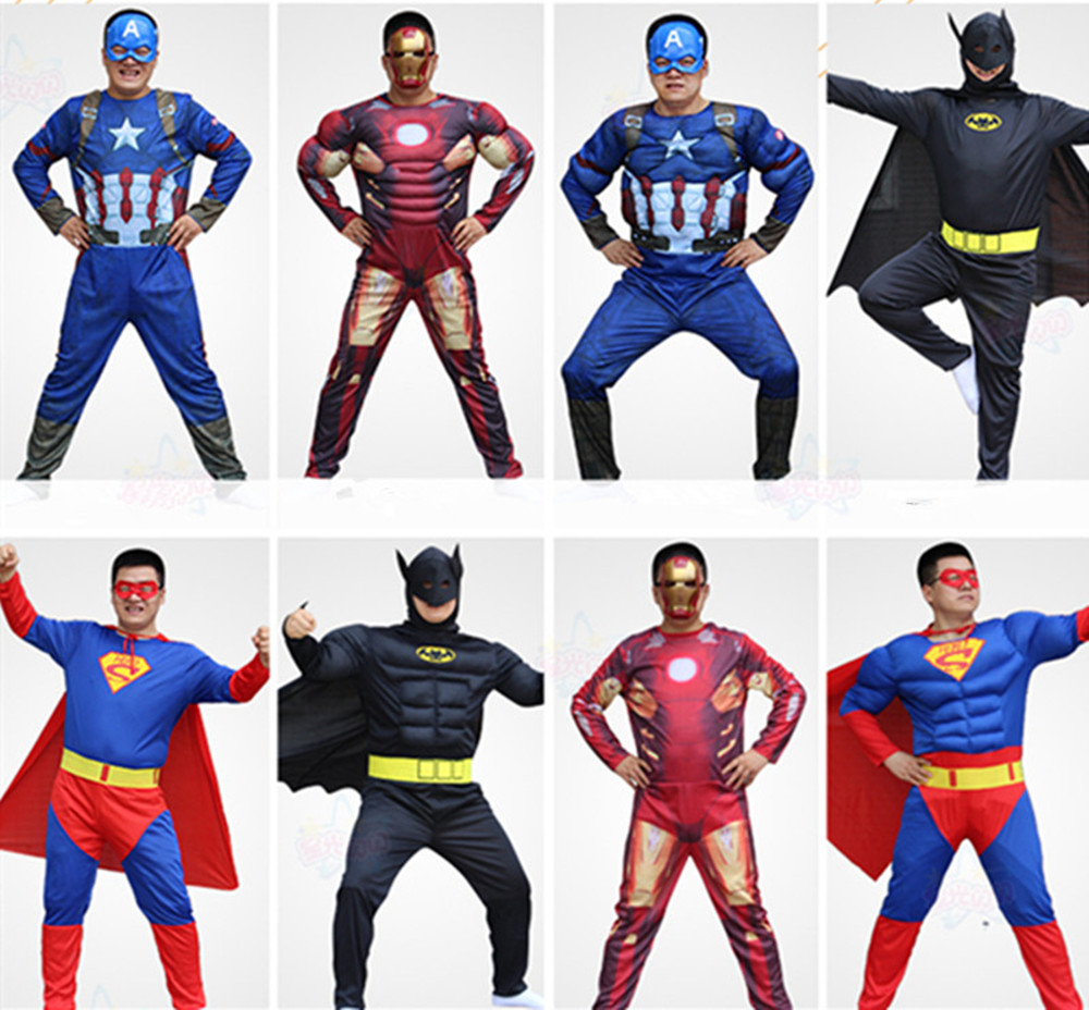 Cosplay Muscle Adult Costume Spider Bat Superman Captain Steel Suit Superhero League And Gift Mask
