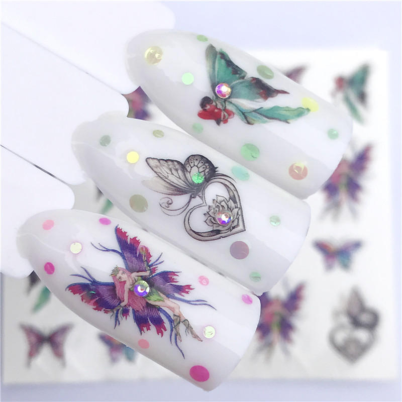 YZWLE 1 PC Watermark Slider Nail Stickers Decal Water Transfer Tattoo Flower Butterfly Decoration Manicure Adhesive Tip