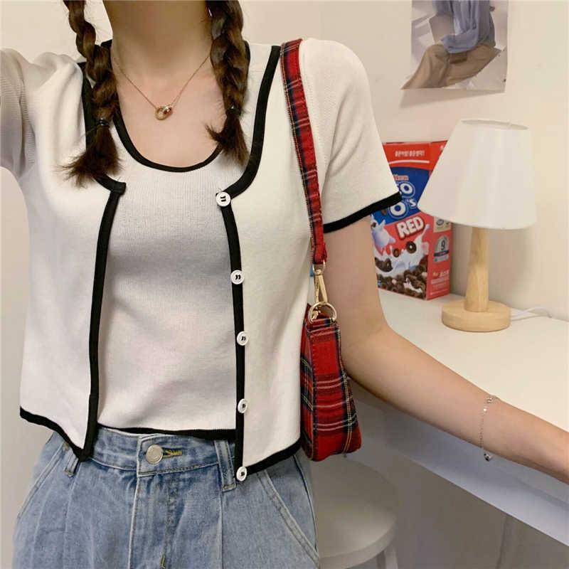 여자 오-넥 반팔 캐주얼 자른 스웨터 셔츠 여자 단추 패치 워크 빈티지 얇은 스웨터 풀 오버 자르기 탑스