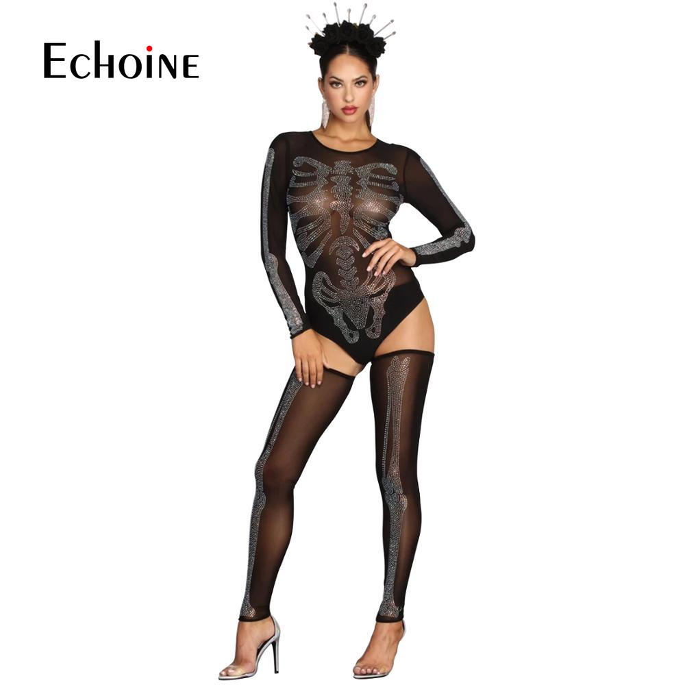 Sexy Crop Body Top+Pants Set Women Mesh Party Club Two Piece Set Diamond Printing See Through 2 Pieces Set Halloween Wear Womens