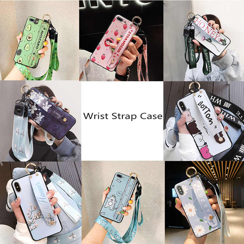 Tali Pergelangan Tangan Ponsel Case untuk iPhone X Max X XR Cover iPhone 7 7 Plus 6 6S 11 Pro max Case Mewah Leher Lanyard iPhone 6s Case