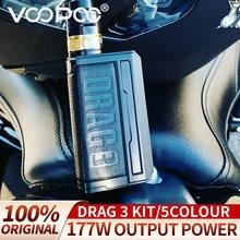 Voopoo drag3 kit mod vape arrastar 3 tpp bobinas vm1 5.5ml 177w tipo-c 2a novo cigarro eletrônico original 5 cores sem 18650 bateria