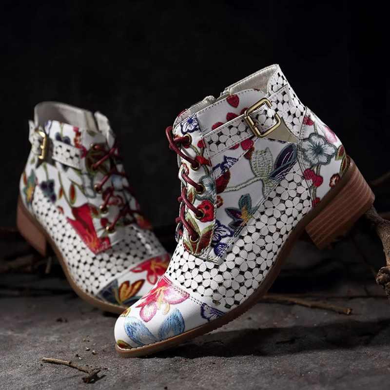Laamei 2019 ใหม่ฤดูใบไม้ร่วง Retro ผู้หญิงเย็บปักถักร้อยดอกไม้สั้น Lady Elegant Lace Up รองเท้าข้อเท้าหญิง Chunky Botas Mujer