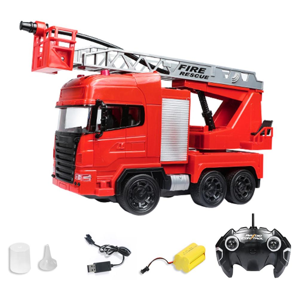 Remote Control Fire Rescue Truck Toys Electric Fire Engine With Ladders Rechargeable One-button Water Spray RC Car Toy For Kids