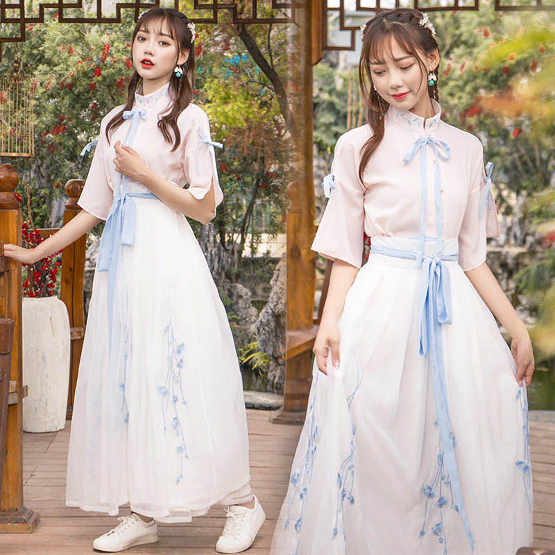 Women Reform Hanfu Fairy Dress Classical Dance Costume Folk Festival Outfit Blue Pink Rave Performance Clothes Stage Wear DF1346
