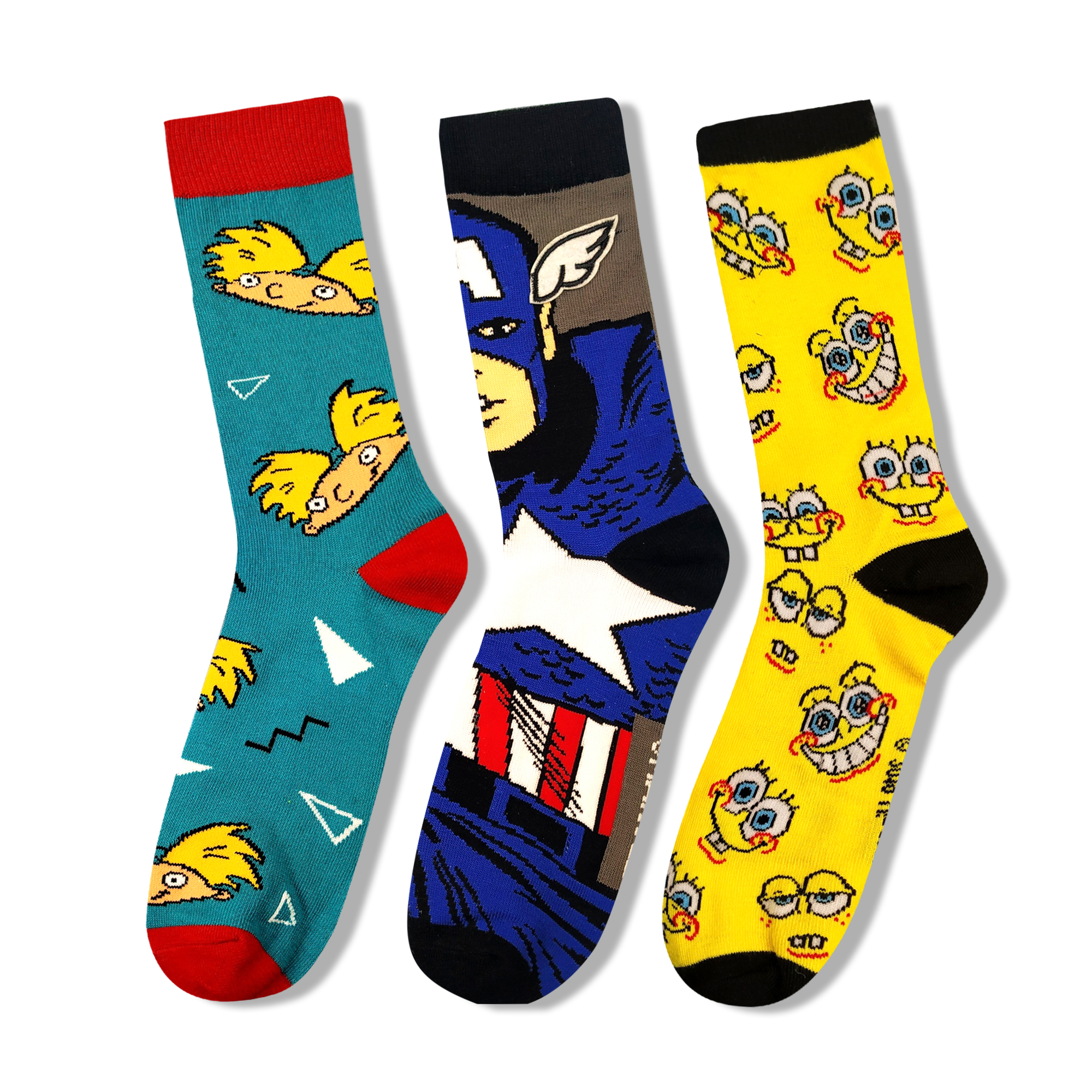 Colorful Anime Cartoon Print Funny Dress Socks Personalized Novelty Men Women Happy Sock Cotton Warm Blue Yellow Long Sock Men