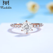 Kuololit 585 10K 14K Rose Gold Bubble Ring For women Round 1CT Moissanite Solitaire Luxury ring for Engagement Anniversary New