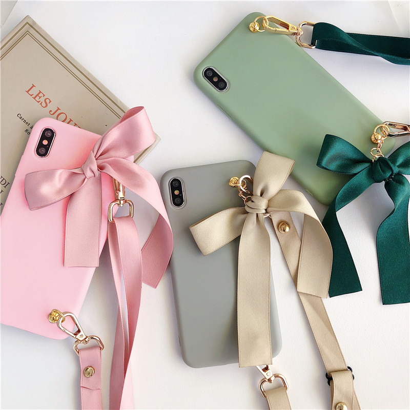 Cute Lanyard <font><b>Case</b></font> For <font><b>OPPO</b></font> <font><b>A33</b></font> A37 A39 A59 A71 A73 A77 A79 A83 A1K R9 R11 R17 F11 Pro A11X Plus A9 A5 2020 Silicone Cover Strap image