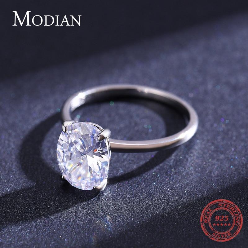Modian basique 925 en argent Sterling grand luxe ovale coupe clair zircone bague pour les femmes fiançailles bague de mariage promesse anneau 3