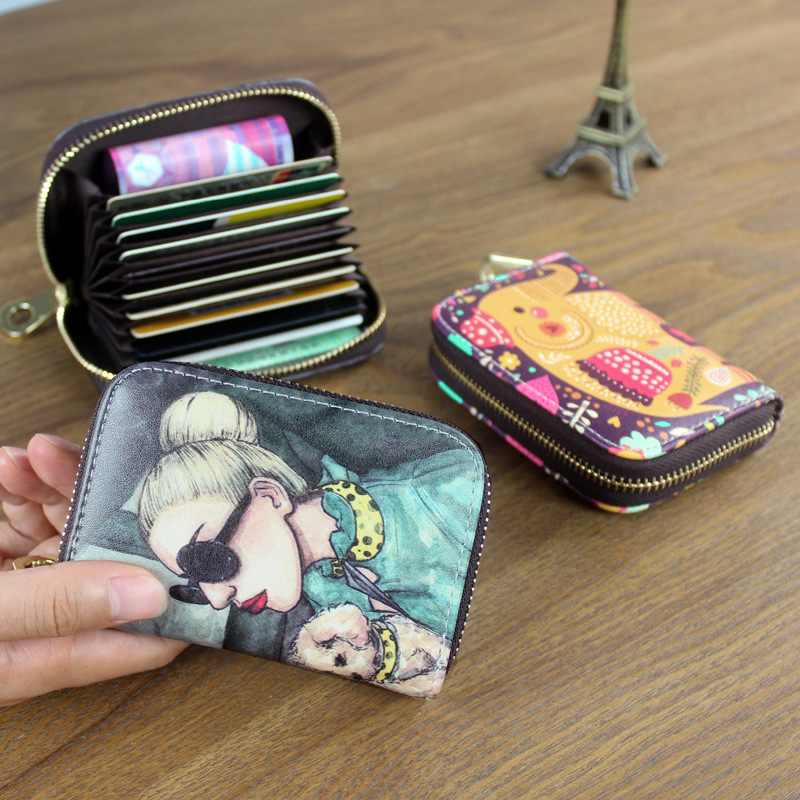 Women Card Holder Wallet PU Leather Female Card Case 9 Bits/10 Bits + 2 Big Position Zipper Card Wallet Cute Characters Card Bag