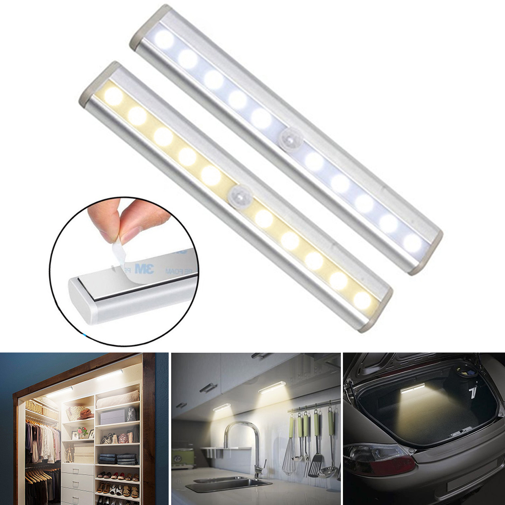 PIR Motion Sensor LED Cabinet Light Bar 10LEDs Portable Wall Lamp Strip Bar Light For Cupboard Kitchen Wardrobe  D40