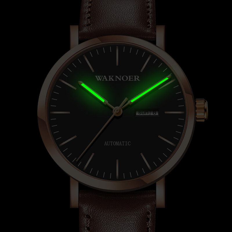 Relógios de Esportes Relógios de Pulso Waknoer Luminoso Masculino Automático Mecânicos Automatictop Marca Luxo Design Simples Reloj