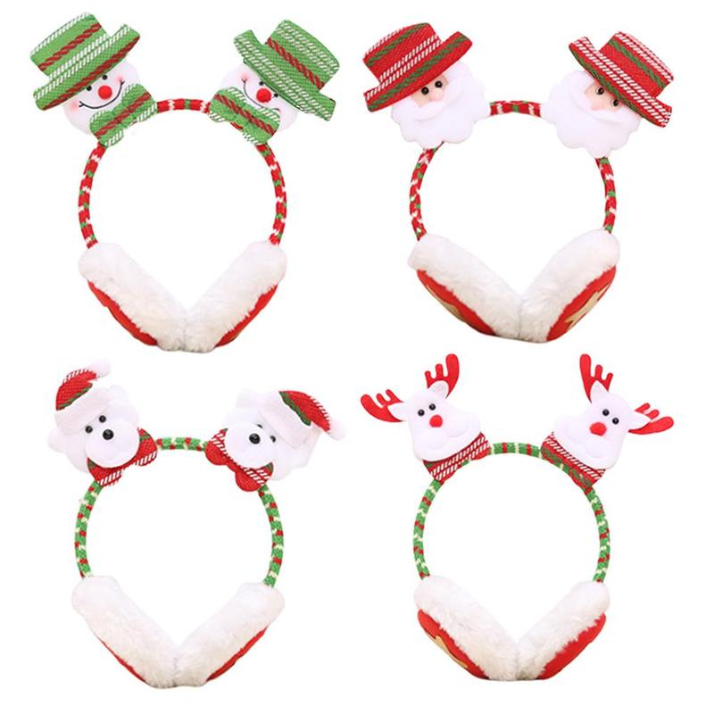 Winter Earmuffs Cute Christmas Snowman Cartoon Warm Plus Velvet Thickening For Adult Children's Christmas Gifts Earmuff