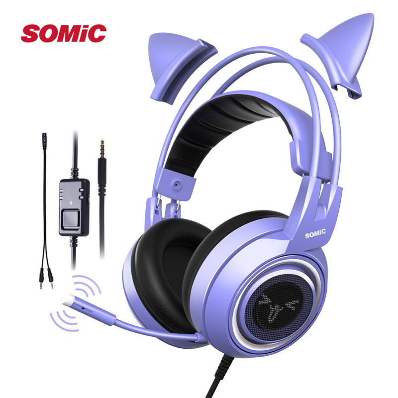 SOMIC Gaming Headset with Mic G951S Purple Stereo for PS4 PC Phone Detachable Cat Ear Headphone 3 5MM Noise Reduction Women Gift