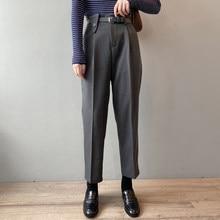 Hzirip nova calça de cintura alta solta elegante todo o jogo cintura elástica 2020 slender reta senhora do escritório casual sólida harem calças