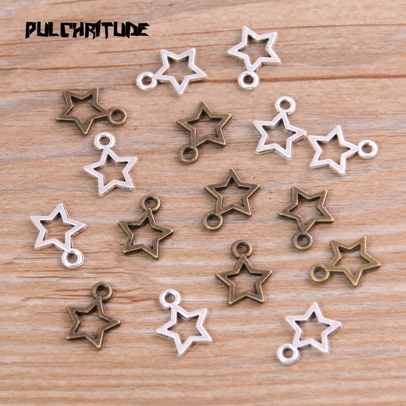 60PCS 10*12mm New Product Two Color Mini Hollow Five-pointed Charms Pendant Jewelry Metal Alloy Jewelry Marking 1