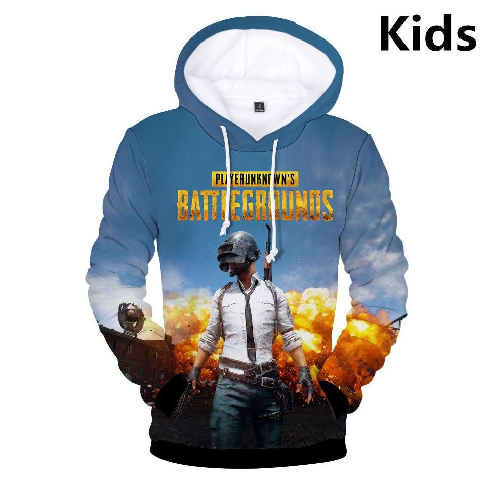 Hot 2 To 12 Years Kids Hoodies 3D Playerunknown's Battlegrounds PUBG Hoodie Sweatshirt Boys Girls Lovely Children Jacket Clothes