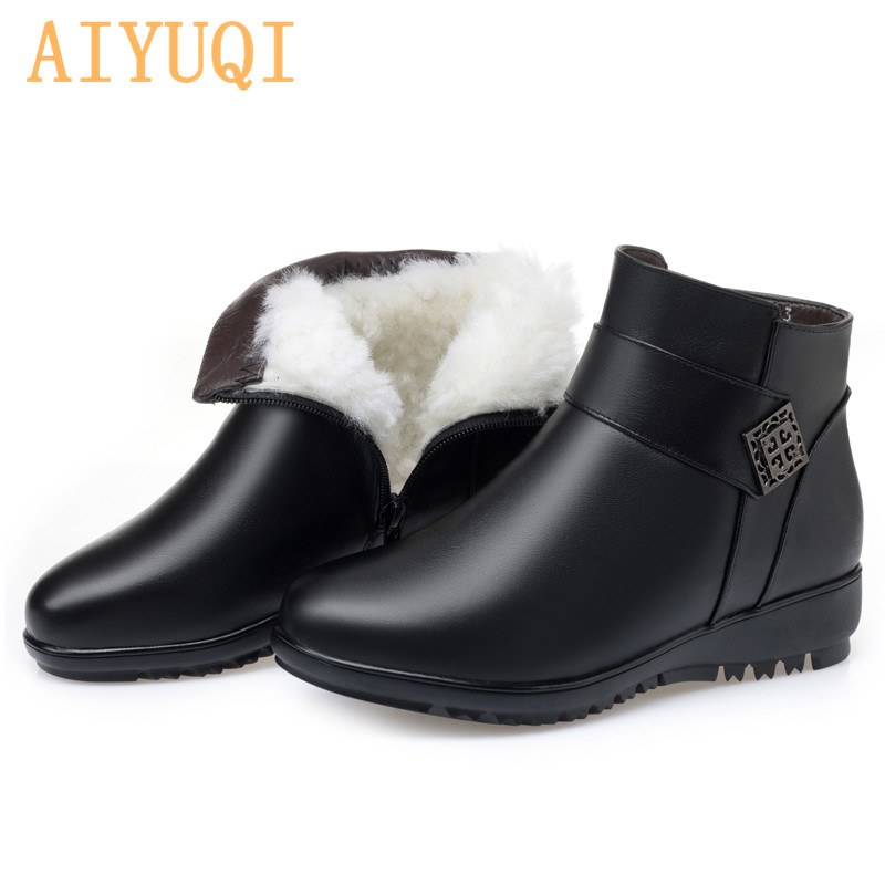 Buy AIYUQI Snow Boots Women Flat Mom Genuine Leather Large Size Non-slip Middle-aged Natural Wool Keep Warm Winter Boots For Women for only 77.86 USD