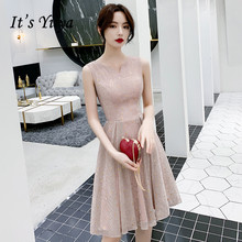 It's Yiiya Prom Dress Short V-neck Shiny Sequined A Line Knee-Length Women Party Gown Sleeveless Pink Formal Dress Vestidos K242 fashionable women s bowknot decorated sleeveless pink round neck dress