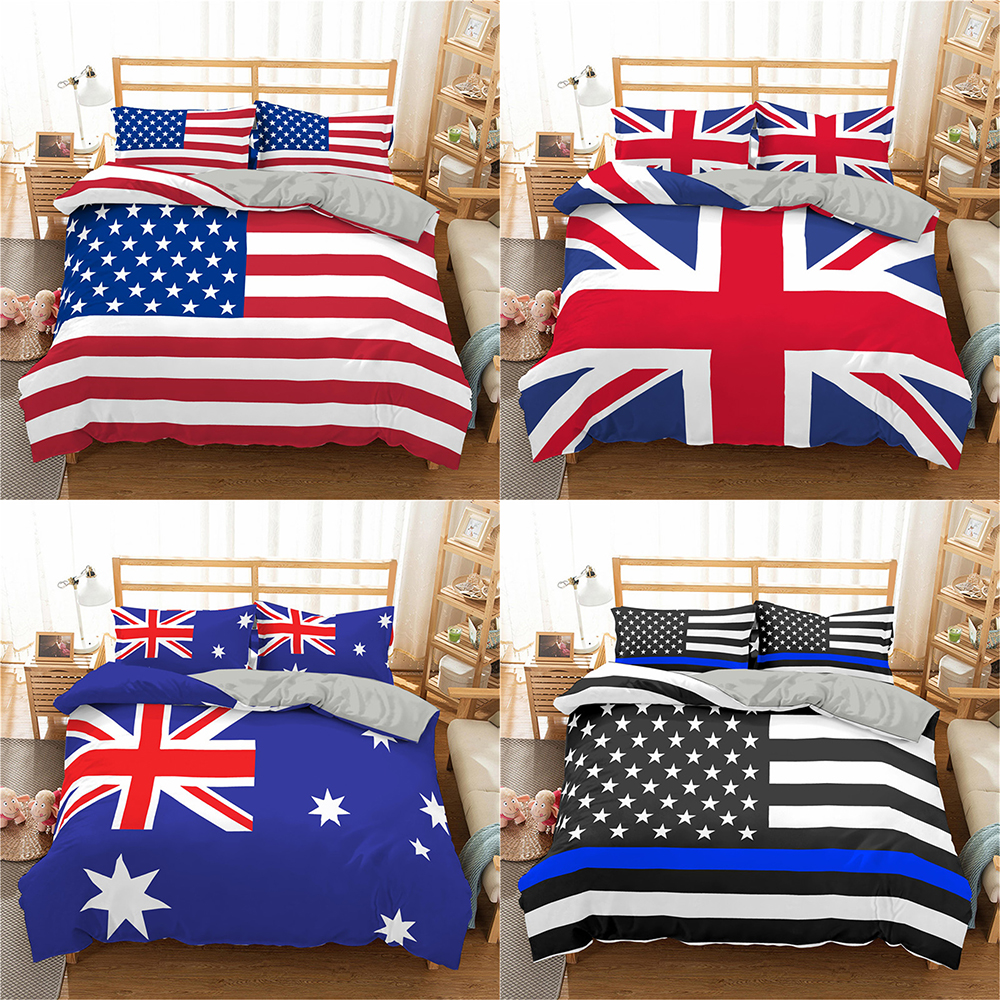Homesky Stars Stripes Flag Bedding Set American Flag 3D Duvet Cover King Queen Bedding United Kingdom Flag Bedclothes