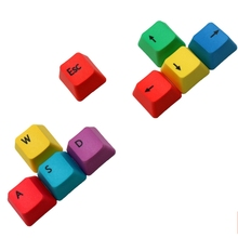 PBT Keycaps Thermal Dye Sublimation Direction Buttons WSAD up, Down, Left and Right Rainbow-Colored Keyboard Keycaps