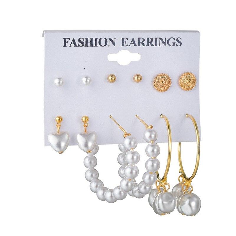 WUKALO Vintage Big Gold Circle Hoop Earrings For Women Clip on Earrings Eye Pearl Heart Earring Set  Brincos Statement Jewelry 2