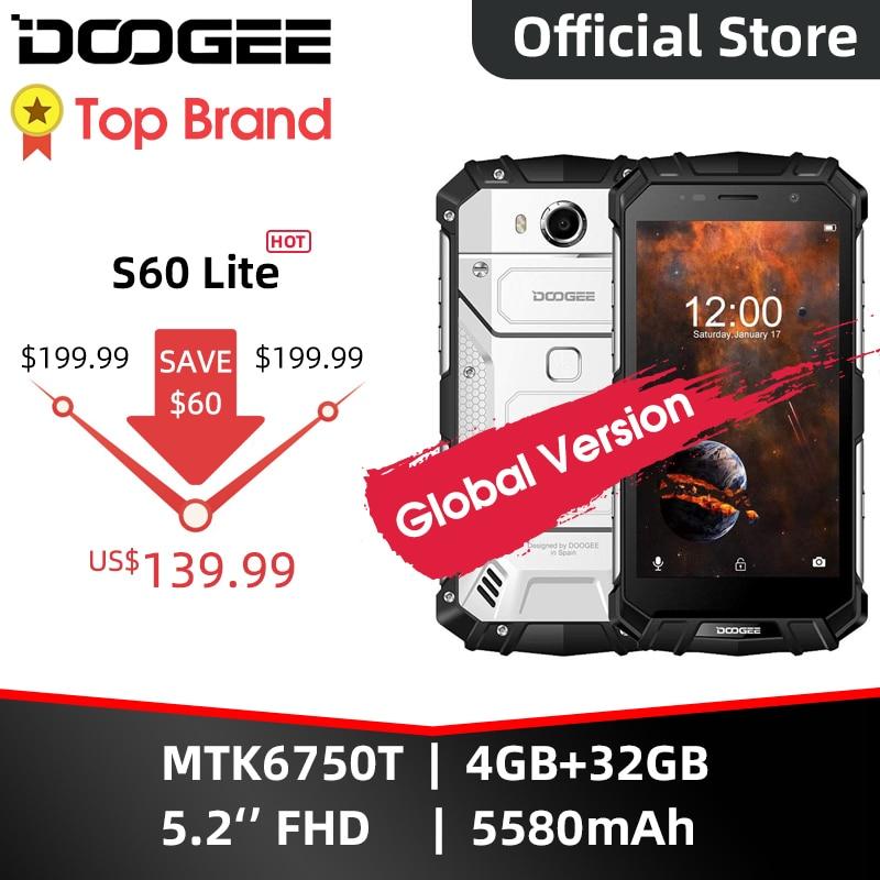 Doogee S60 Lite IP68 Draadloze Lading Smartphone 5580Mah 12V2A Quick Lading 16.0MP 5.2 Fhd MTK6750T Octa Core 4gb Ram 32Gb Rom