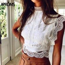 Aproms biała koronka szydełkowa podkoszulki kobiety lato Sexy na szyję drążą Crop Top z suwakiem Slim dopasowane t-shirty 2021
