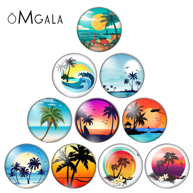 Summer Beach Sea Coconut Tree 10pcs Mixed 12mm/18mm/20mm/25mm Round Photo Glass Cabochon Demo Flat Back Making Findings ZB1104