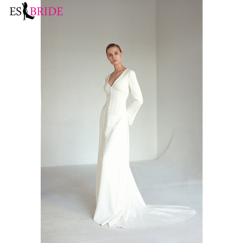 Wedding Dresses Full Sleeve A-Line Deep V-Neck Draped Satin Formal Bride Gowns