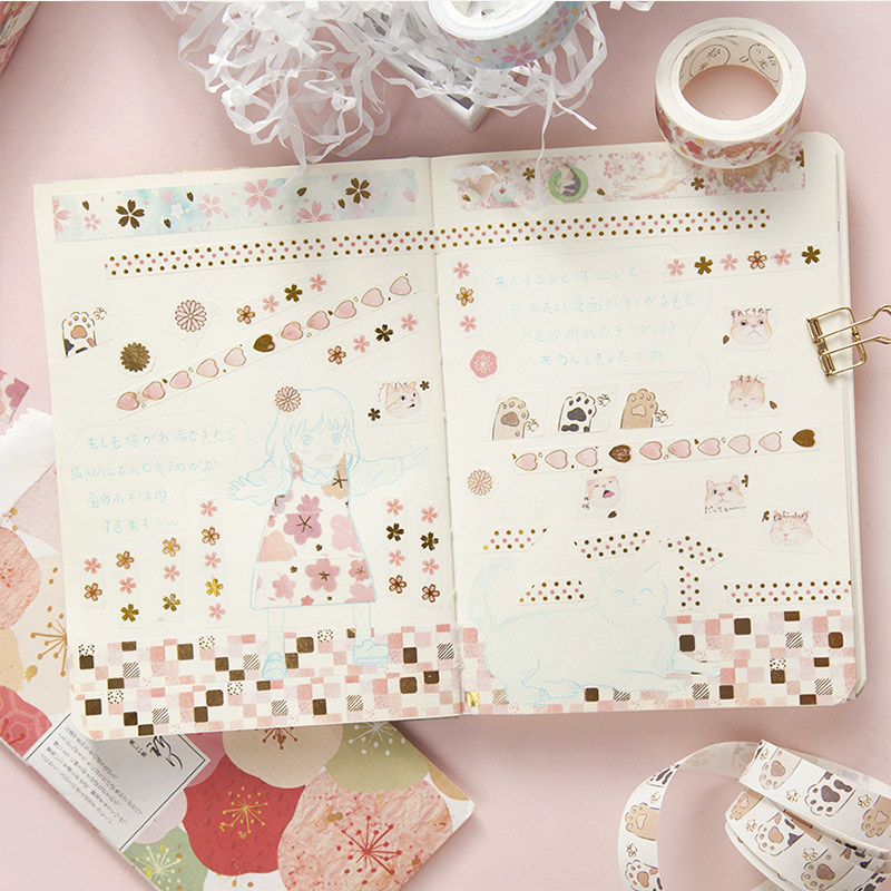 5M Kawaii Cat Gold Foil Washi Tape Japanese Cherry Blossom Paper Sticker Masking Adhesive Tapes for Diy Planner Diary Decoration in Office Adhesive Tape from Office School Supplies