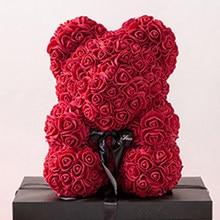 Ourson en roses artificielles, 25x20x15CM, fausses fleurs, pour un cadeau de saint-valentin, pour un mariage, JU0127