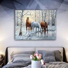 Diy картинки для раскраски по номерам с лошадьми в снегу картина