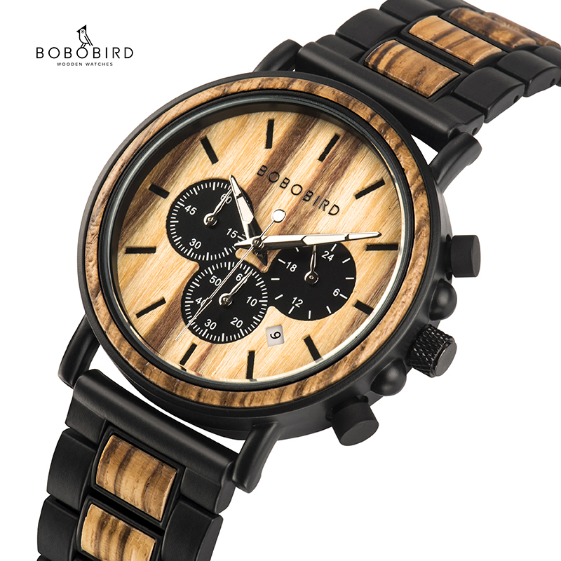 BOBO BIRD Wooden Watch Men erkek kol saati Luxury Stylish Wood Timepieces Chronograph Military Quartz Watches in Wood Gift Box-in Quartz Watches from Watches