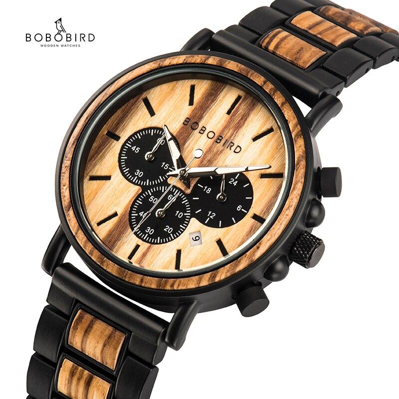 Bobo pássaro relógio de madeira homem erkek kol saati luxo elegante relógios de madeira cronógrafo militar relógios de quartzo na caixa de presente de madeira