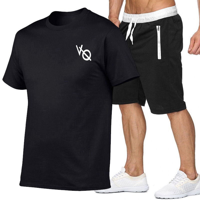 Summer New Style Men And Women VQ Printed Cotton Short-sleeved T-shirt + Zipper Pocket MEN'S Shorts Leisure Sports Suit