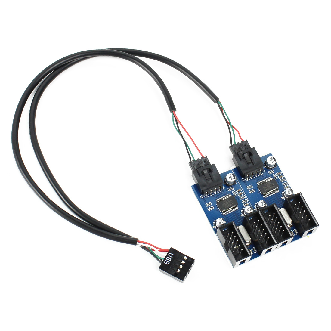 9pin USB header Male 1 to <font><b>2</b></font> / <font><b>4</b></font> Female Extension Cable Card Desktop 9-<font><b>Pin</b></font> USB HUB USB <font><b>2</b></font>.0 9 <font><b>pin</b></font> Connector Adapter Port Multilier image