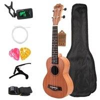 Сопрано Гавайские гитары укулеле 21 дюймов красное дерево начинающих 4 струны мини гитара палисандр гриф шеи музыкальный инструмент