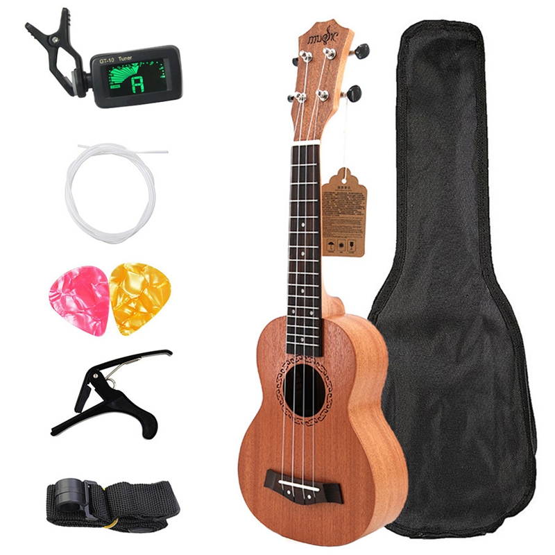 Soprano Ukulele 21Inch Mahogany Wood Beginner 4 Strings Mini Guitar Rosewood Fingerboard Neck Music Instrument