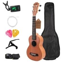 Soprano Ukulele 21Inch Mahogany Wood Beginner 4 Strings Mini Guitar Rosewood Fingerboard Neck Music Instrument