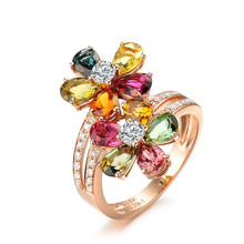 Seven colors lucky flower Shine fashion ring Multi-color Lovely Zircon Rhinestone Rose Gold Wedding Party  Rings