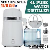 Destilador de água pura 4l destilação de água interna de aço inoxidável 750 w purificador de água filtro destilador de água com coleção bott