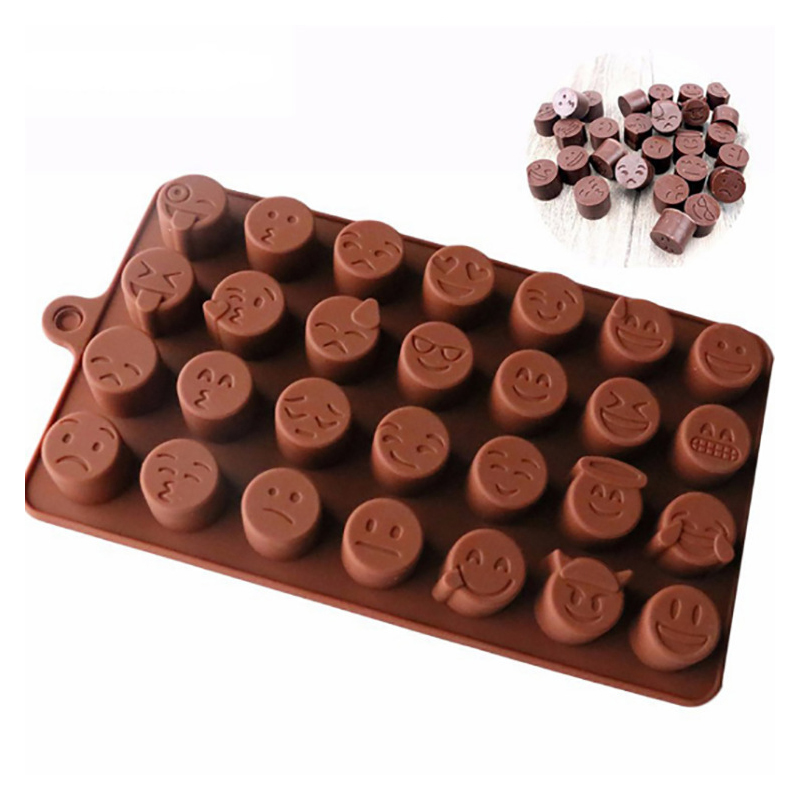 5PCS Wholesale 28 Even Expression Chocolate Silicone Mold Personality Ice Mold Baking Utensils Smiley Cake Kitchen Gadget New 3d