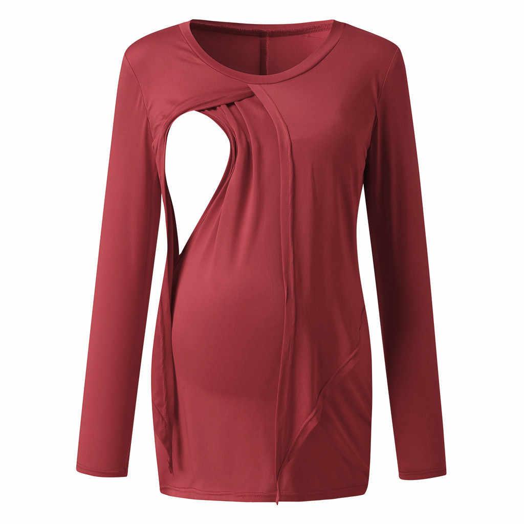 妊婦服ルーズ固体快適なプルアップ妊婦母乳服妊娠シャツ Ropa 妊産婦 Grossesse