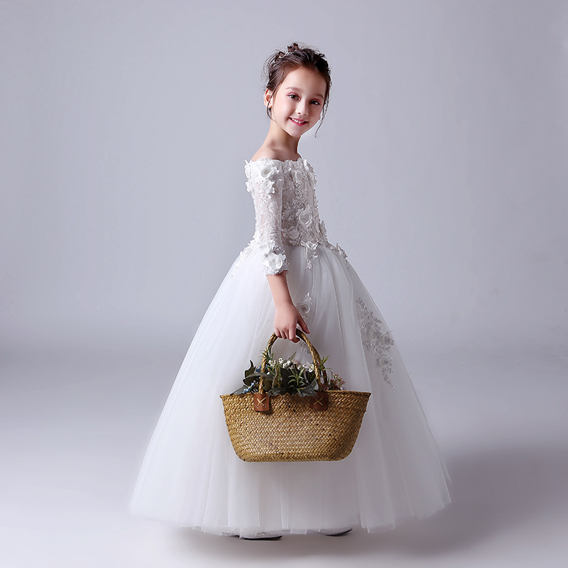 2019 New Style Girls Princess Dress White CHILDREN'S Piano Costume Host Catwalks Puffy Grenadine Children Dress
