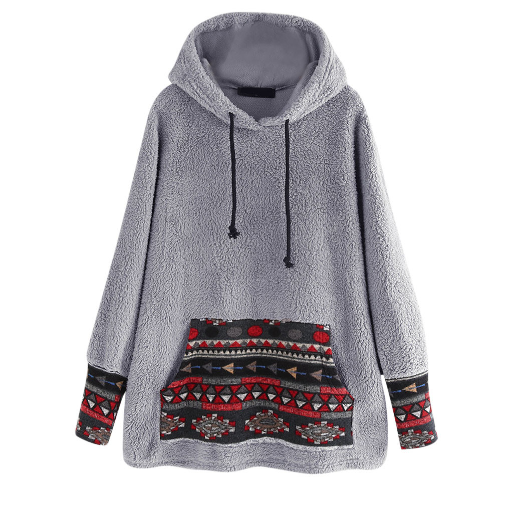 Women Ethnic Print Patchwork Fleece Long Sleeve Hoodie Pocket Top Korean Plus Size Fall  Casual Tops