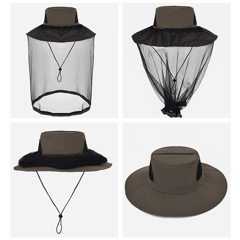 Hiking Anti-mosquito Hat Protector Cap Sun protection Quick dry Outdoor Bug insect bee Head Practical