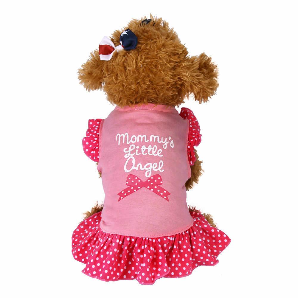 Vestido de verano para perros ropa para perros cachorro pequeña manga corta mosca dot Sweety Princess falda disfraz fiesta cumpleaños boda Mascotas