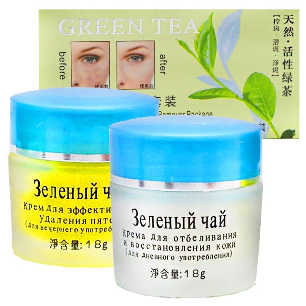 YIN NI Косметический отбеливающий набор кремов от пигментных пятен Green Tea 18+18 гр YINT-24